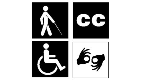 Τέσσερα σύμβολα σχετικά με την αναπηρία σε ίσα τετράγωνα που όλα μαζί σχηματίζουν ένα μεγαλύτερο τετράγωνο. Επάνω αριστερά σε μαύρο φόντο βαδίζει λευκή μορφή κρατώντας λευκό μπαστούνι. Πάνω δεξιά σε μαύρο φόντο φαίνονται δύο λευκά γράμματα. Κάτω δεξιά σε μαύρο φόντο είναι το λευκό σύμβολο του αναπηρικού αμαξιδίου Κάτω δεξιά σε άσπρο φόντο δύο μαύρα χέρια νοηματίζουν μία λέξη.